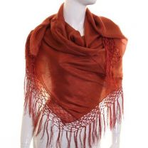 Rust Large Square Silk Scarf with Tassels
