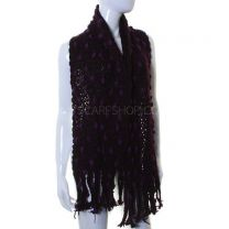 Deep Purple Pom Pom Knitted Scarf