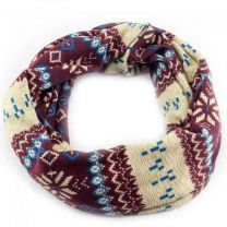 Nordic Winter Snood Scarf - Mauve & Cream