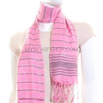 Pink Lighweight Striped Pashmina