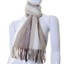 Beige Stripes Wool Mix Winter Scarf