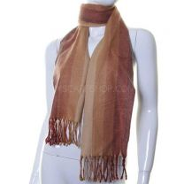 Wool Mix Winter Scarf (Brown Tone Stripes)