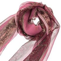 Pink Paisley Sheer Silk Chiffon Scarf