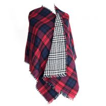 Red Checkered Reversible Poncho