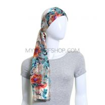 Multicolour Flowers Satin Stripe Scarf