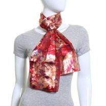 Red Painted Flowers Satin Stripe Scarf