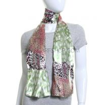 Green Mixed Animal Print Satin Stripe Scarf