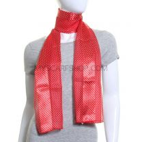 Red Mini Polka Dot Satin Stripe Scarf