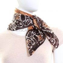 Gold Batik Square Silk Scarf