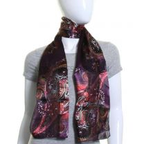 Purple Paisley Satin Stripe Scarf