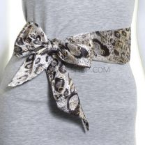 3 in 1 Grey And Gold Animal Print Satin Sash Scarf