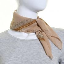Beige Regal Design Chiffon Square Scarf
