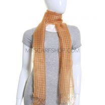 Gold Sheer Silk Checked Shawl