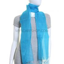 Turquoise Sheer Silk Checked Shawl