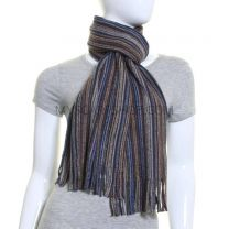 Grey Fine Stripes Pure Wool Knitted Scarf