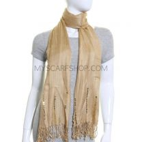 Beige Pleated Winter Pashmina with Sequins