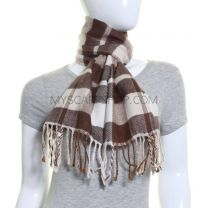 Cream Check Winter Scarf