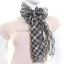 Blue Check Glitter Neck Scarf