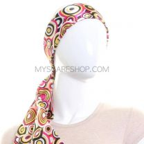 Black Retro Circle Print Satin Sash Scarf