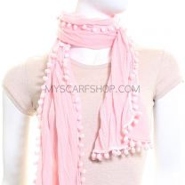 Crinkle Scarf Small Pom Poms (Pink)