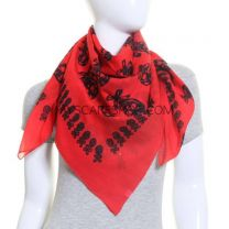 Red Skulls Square Cotton Scarf
