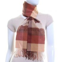 Cashmere Feel Scarf Brown Check