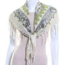 Green Floral Print Square Cotton Scarf