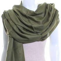 Khaki Green Plain Pashmina