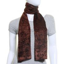 Brown Rose Motif Velvet Scarf