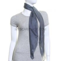 Grey Large Square Silk Scarf