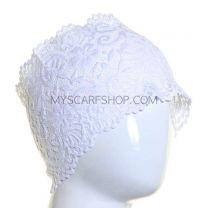 White Floral Lace Hijab Bonnet