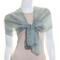 Grey Long Silk Scarf