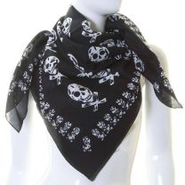 Black Skull Print Large Cotton Square Scarf