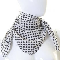 White Dotted Square Cotton Scarf