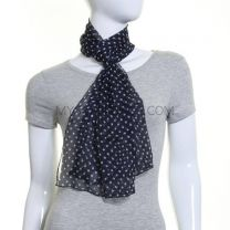 Navy Small Polka Dot Chiffon Scarf