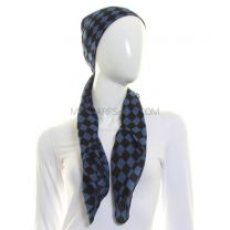 Blue Pure Cotton Check Scarf