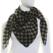 Grey Pure Cotton Square Check Scarf
