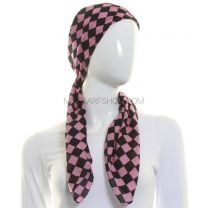 Pink Cotton Square Check Scarf