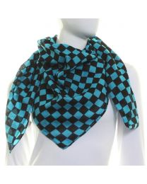 Turquoise Pure Cotton Square Check Scarf