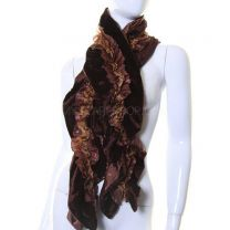 Brown Velvet and Satin Ruffle Neck Scarf