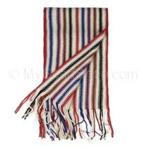 White Stripes Knitted Scarf