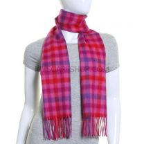 Pink Checked Lambswool Scarf