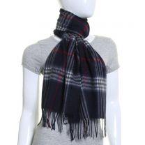 Navy Tartan Wool & Cashmere Blend Scarf