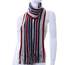 Red and Blue Stripes Wool Winter Scarf