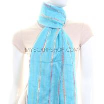Turquoise Multicolour Stripes Lightweight Pashmina