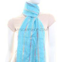 Turquoise Multicolour Stripes Lightweight Pashmina