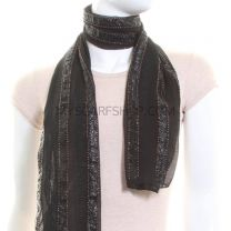 Black Beaded Georgette Scarf