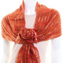 Orange Thick Tight Knit Scarf