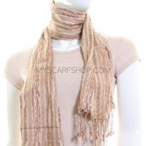 Beige Striped Crinkle Neck Scarf