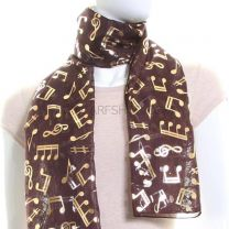 Brown Chiffon Scarf (Musical Notes)